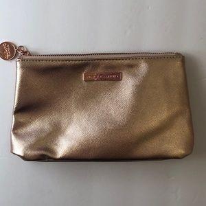 Vince Camuto Rose Gold Metallic Zip Top Makeup Bag